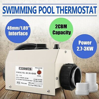 Electric 3KW Water Heater 220V Thermostat Swimming Pool & Tub Bath SPA UK