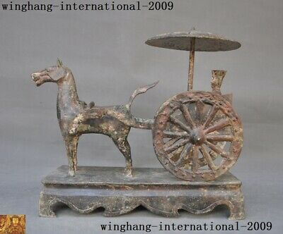 """11""""Old Chinese Bronze Ware Ancient People Man Horse Pull Vehicle Umbrella Statue"""