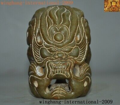"""3""""Rare Chinese Ancient Hongshan Culture Hetian Old jade carved beast face statue"""