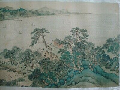 """Very Long Old Beautiful Chinese Scroll Hand Painting Landscape """"SunZhi"""" Marks"""