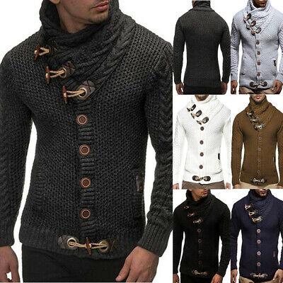 Mens Warm Knitted Hooded Long Sleeve Casual Jumper Pullover Sweater Winter Coat