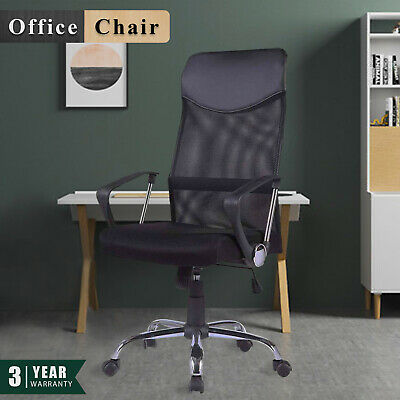 High Back Office Chair Executive Computer Gaming PU Leather Mesh Chairs Black