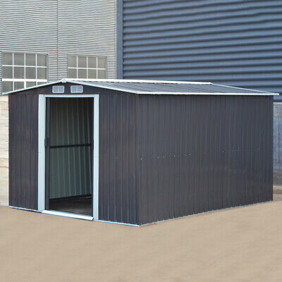 Metal Apex Roof Garden Shed Outdoor Storage House Tool Sheds + Free Foundation