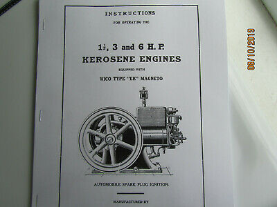 "1925 IHC ""M"" 1 1/2-6 HP Kerosene Instructions/Parts Manual,EK mag & spark plug"