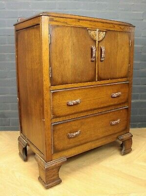 Antique 1930's Art Deco Oak Tallboy Cupboard Cabinet (Chest of Drawers)