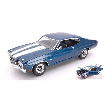 Welly We19855B Chevrolet Chevelle Ss454 1970 Blue W/White Stripes 1:18 Die Cast