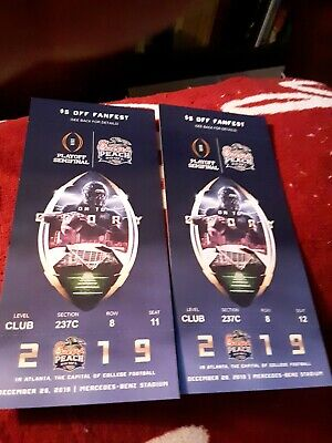 2 Peach Bowl Tickets - Sect. 243 Club Level - LSU vs Oklahoma - 12/28/19