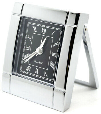 Heavy Art Deco Style Travel Alarm Clock in Chrome Finish with a Black Face (c36)