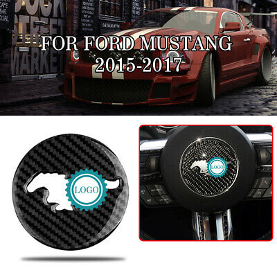 Real Carbon Fiber Steering Wheel Panel Trim Cover Decor For Ford Mustang 2015-17