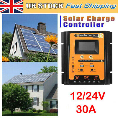30Amp LCD Solar Panel Battery Regulator Charge Controller Dual USB Charging Port