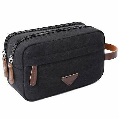 Mens Travel Toiletry Bag Canvas Leather Cosmetic Makeup Organizer Shaving Dopp