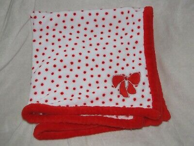 Absorba Red Bow Polka Dots White Blanket Fleece Security Baby Lovey RN 95271