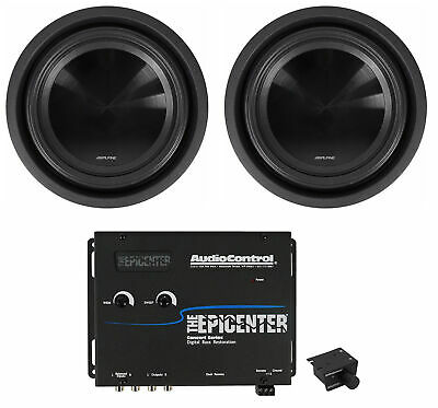 "2) Alpine SWT-10S4 10"" 1000W Shallow Slim Subwoofers+AudioControl Bass Processor"