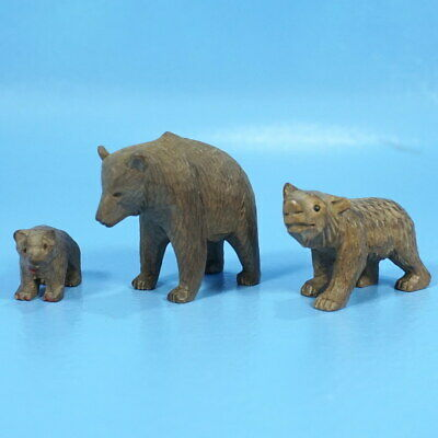 Set/3 Antique Swiss Black Forest Wood Carved BEAR MOTHER CUBS Hunt c1900 Brienz
