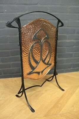 Antique Arts & Crafts Hammerred Copper & Wrought Iron Firescreen Fire Guard