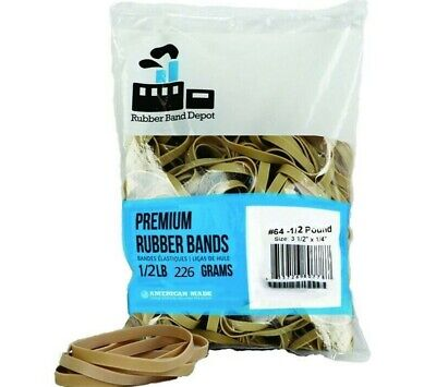 """Rubber Bands, Rubber Band Depot, Size #64 (3-1/2"""" x 1/4''), (1/2 Pound Bag)"""