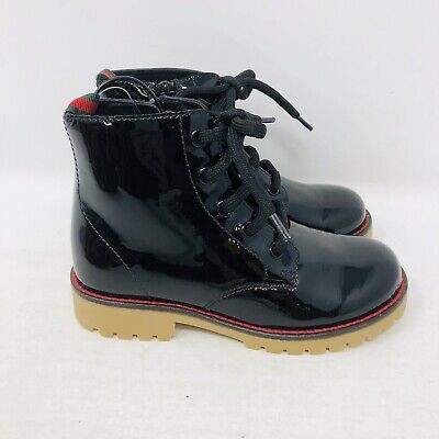 New Childrens Girls Gucci Black Patent Boots Size 12