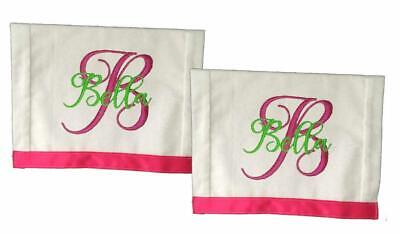 New Embroidered Personalized  100% Cotton Fleece Set of 2 Burp Cloths