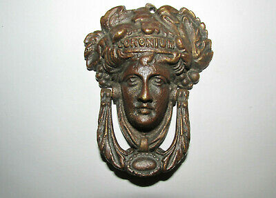 Antique Victorian Brass Figural Door Knocker Bacchus Head (Female Face) c1880/90