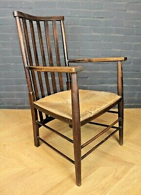 Antique Arts & Crafts Wooden & Rush Seated Elbow Chair Armchair Farmhouse Chair