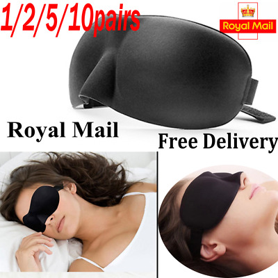 2X 3D Eye Mask Soft Sponge Padded Travel Sleeping Blindfold Sleep Aid (2 PIECES)