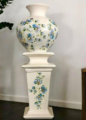 Hand Painted Floral Art Pottery Vase On Stand