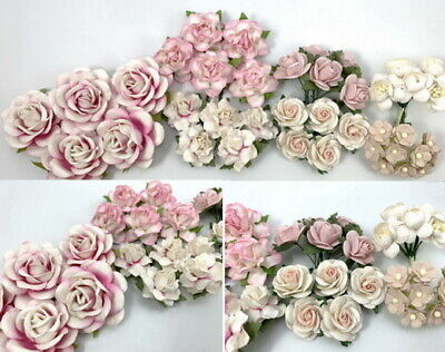 Special Pack 40 Mixed Size Shape Mulberry Paper Flower Roses DIY Crafts PA3-00