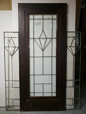 Antique  Door With Fully Beveled Leaded Glass Set Architectural Salvage