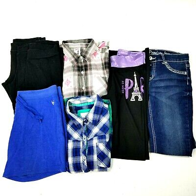 Lot of 8 Justice Girls Sz 18 Jeans Button Downs Yoga Pants Leggings Shorts Euc