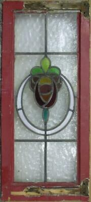 "LARGE OLD ENGLISH LEADED STAINED GLASS WINDOW Stunning Floral Wreath 14"" x 32"""