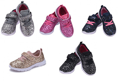 Baby Toddler Girls And Youth Kids Glitter Shoes Elastic Lace Loop Strap Sneakers
