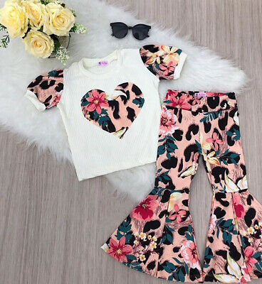 Toddler Kids Baby Girls Valentine's Day Clothes Top T-shirt Pants Legging Outfit