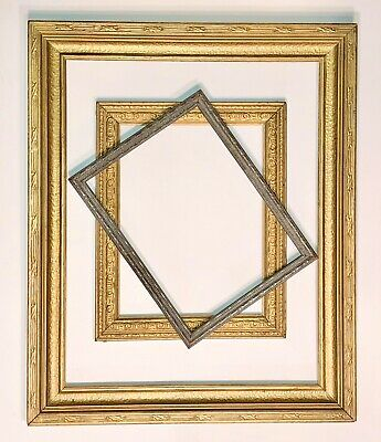 3 Art Deco Wood Frame Gold Silver Gilt Ornate Arts and Crafts Antique VTG Lot