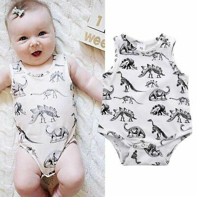 Sleeveless Clothing Outfits Rompers Baby Clothes Jumpsuits Dinosaurs Print