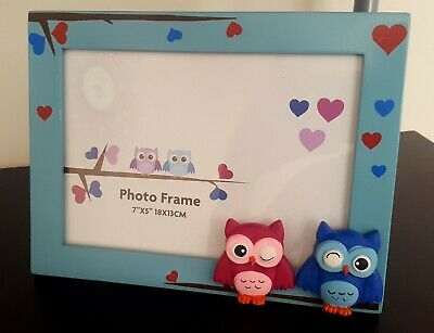 Red/Blue/Pink Owl Wooden Photo Frame- Childrens Baby Bedroom Nursery Decor Gift