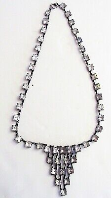 Antique VTG Art Deco Sterling Open Back Set Clear Cut Glass Rhinestone Necklace