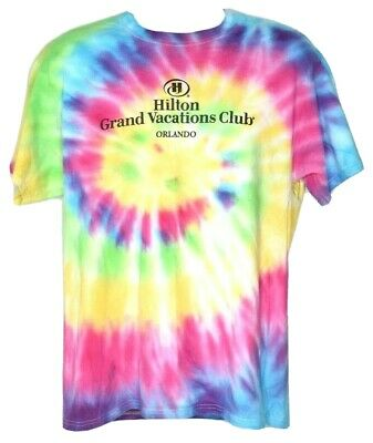 Hilton Grand Vacations Club Orlando Florida T Shirt Mens Large Tye Dye Cotton H