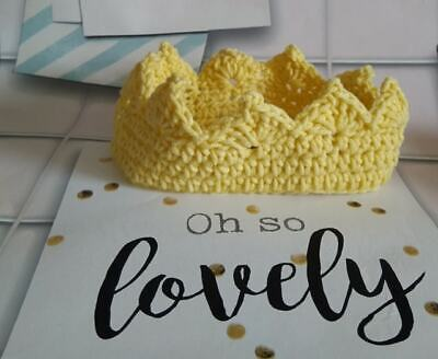 Hand Made Crocheted Crown For A Prince Or Princess - Yellow – 0-3 Months