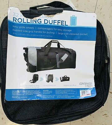 Compactable 32-Inch Traveling Luggage Bag Strap Rolling Duffle w/ Side Pocket