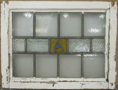 "OLD ENGLISH LEADED STAINED GLASS WINDOW Pretty Band Design 21.25"" x 16.25"""