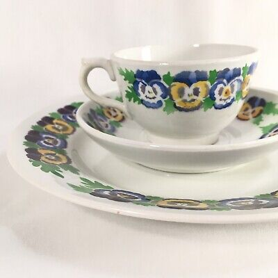 Victorian Libertas Prussia Teacup Saucer Plate Tea Set China Pansy Flower Floral