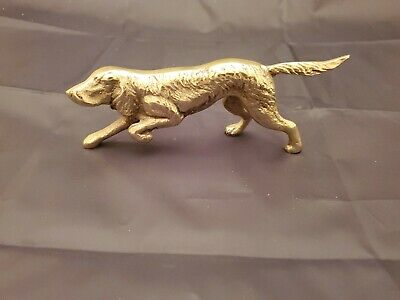 """Solid Brass Hunting Dog Pointer?  Sculpture Figurine 7.5"""" L 3"""" T Made In Tiawan"""