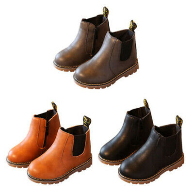 Zip Heel Leather Shoes Warm Girls Kids Ankle Winter Low Boots Boys Flat Outdoor