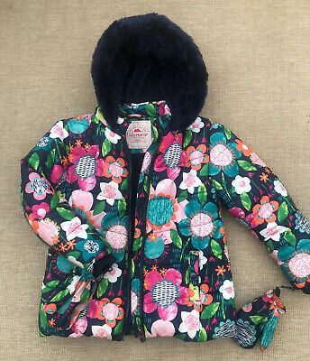 George Winter Coat Jacket Gloves Floral Size UK 5-6 Years