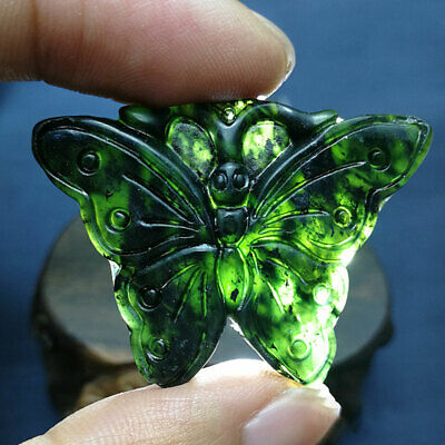 Chinese Natural Black Green Jade Hand Carved Butterfly Pendant Good Lucky Amulet