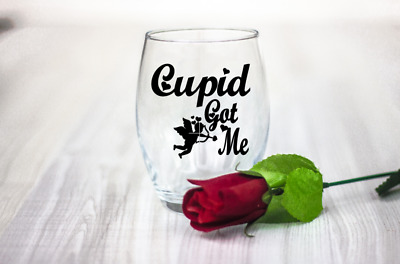 10 Valentines day Cupid got me vinyl Decal Stickers wine glass laptop