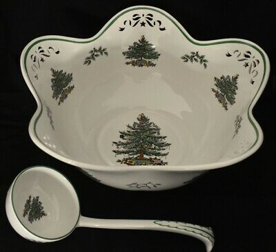 Spode Christmas Tree Large Pierced Centerpiece Punch Bowl with Ladle #660648