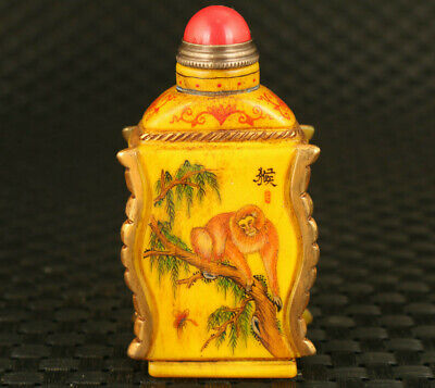 rare Asian old galze hand carving monkey chicken statue snuff bottle collectible