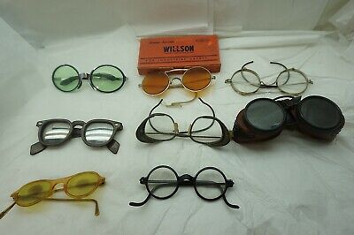 VINTAGE SAFETY GLASSES GOGGLES LOT 8 PC INDUSTRIAL STEAMPUNK ORANGE GLASS d