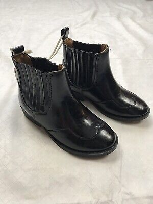NEW Zara Kids Girls Stretch Cowboy Ankle Black Faux Leather Boots Sz 26 US 9-1/2
